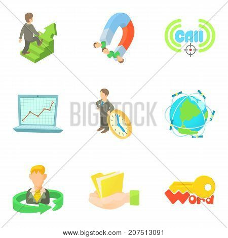 Labor hour icons set. Cartoon set of 9 labor hour vector icons for web isolated on white background
