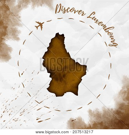 Luxembourg Watercolor Map In Sepia Colors. Discover Luxembourg Poster With Airplane Trace And Handpa