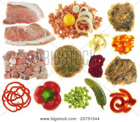 Set of components for cooking and eating of cutlets. Meat forcemeat egg onions flour spices a paprika a peas sauce a horse-radish ketchup a gherkin. Isolated on white. poster