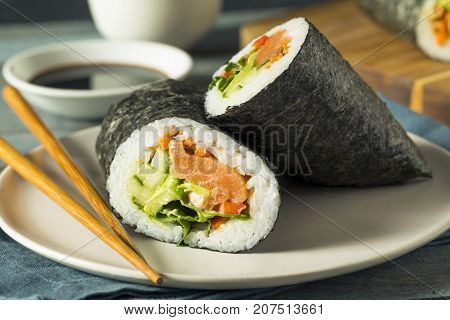 Raw Homemade Salmon Sushi Burrito