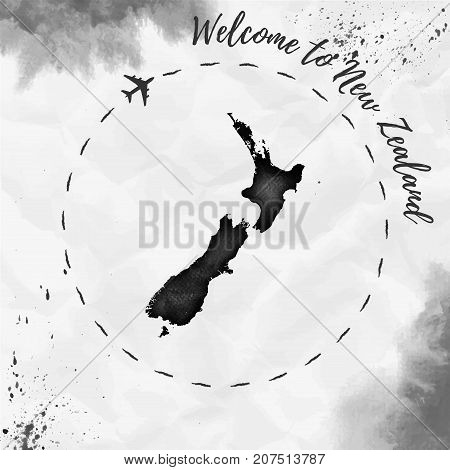 New Zealand Watercolor Map In Black Colors. Welcome To New Zealand Poster With Airplane Trace And Ha