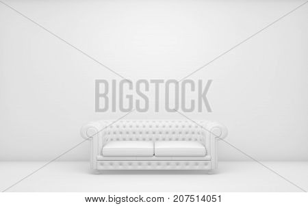 White light room with sofa and empty background wall. 3d rendering
