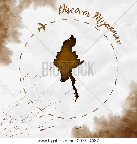 Myanmar Watercolor Map In Sepia Colors. Discover Myanmar Poster With Airplane Trace And Handpainted