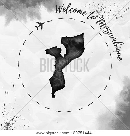 Mozambique Watercolor Map In Black Colors. Welcome To Mozambique Poster With Airplane Trace And Hand