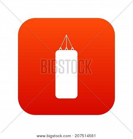Punching bag for boxing icon digital red for any design isolated on white vector illustration