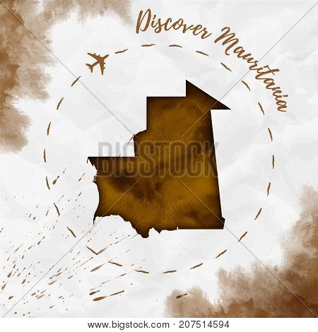Mauritania Watercolor Map In Sepia Colors. Discover Mauritania Poster With Airplane Trace And Handpa