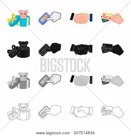 Toy in gift box, Next button, handshake, credit cards in hand.Sale and purchase set collection icons in cartoon black monochrome outline style vector symbol stock isometric illustration .