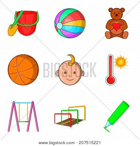 Outdoor playground icons set. Cartoon set of 9 outdoor playground vector icons for web isolated on white background