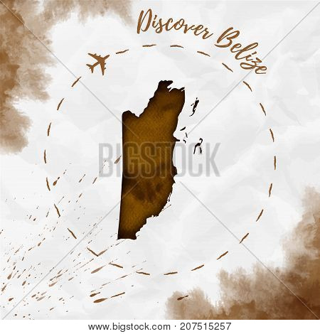 Belize Watercolor Map In Sepia Colors. Discover Belize Poster With Airplane Trace And Handpainted Wa