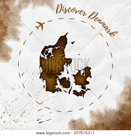 Denmark Watercolor Map In Sepia Colors. Discover Denmark Poster With Airplane Trace And Handpainted
