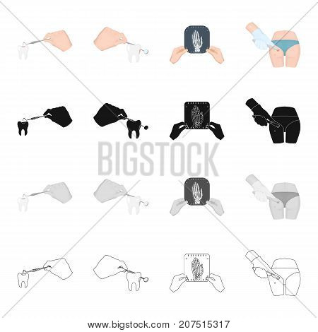 Dentist dental treatment, a shot of a human hand, a surgical operation on the leg. Medicine and dentistry set collection icons in cartoon black monochrome outline style vector symbol stock isometric illustration .