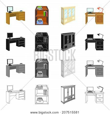 Furnishings, amenities, style and other  icon in cartoon style.Office, building, firm, icons in set collection