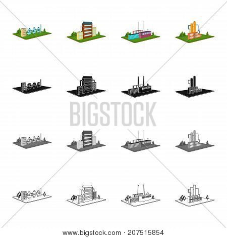 Power, plant, organization, and other  icon in cartoon style.Metals, territory, industry icons in set collection