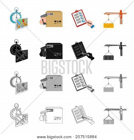 Delivery time, a box with a bar code, a delivery document, a container loading by a crane. Logistics set collection icons in cartoon black monochrome outline style vector symbol stock illustration isometric .