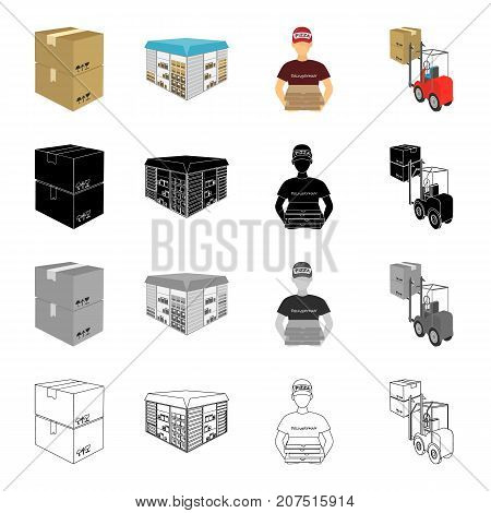 A box of goods, a logistics warehouse, a courier for pizza delivery, a forklift. Logistics and delivery set collection icons in cartoon black monochrome outline style vector symbol stock illustration isometric .