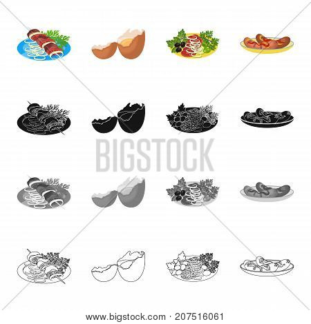 Food, shish kebab on a plate, broken egg, vegetable salad, fried sausages with seasoning. Food and Cooking set collection icons in cartoon black monochrome outline style vector symbol stock illustration isometric .