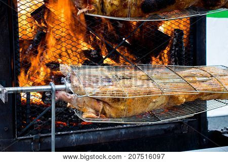 Preparation of piglets on a giant grill.