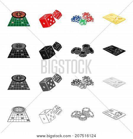 Roulette in the casino, dice, chips, gold credit card. Casino set collection icons in cartoon black monochrome outline style vector symbol stock isometric illustration .