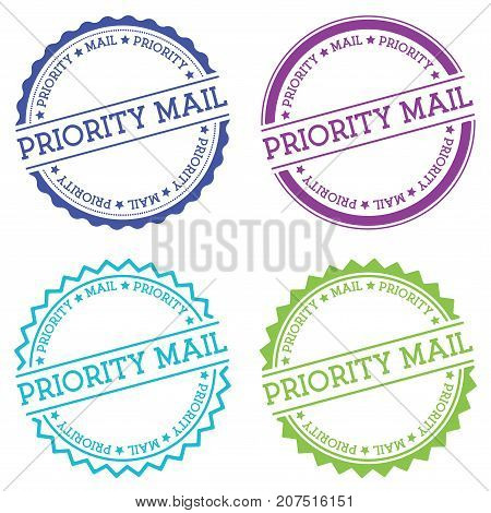 Priority Mail Badge Isolated On White Background. Flat Style Round Label With Text. Circular Emblem