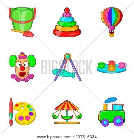 Young viewer icons set. Cartoon set of 9 young viewer vector icons for web isolated on white background