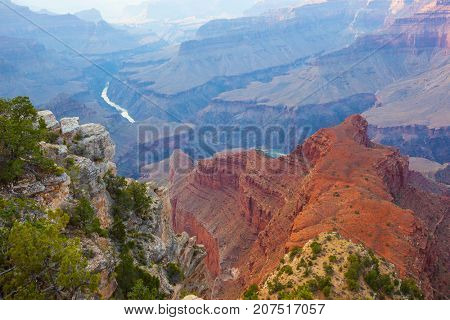 Colorado River flowing through South and North Rim of Grand Canyon