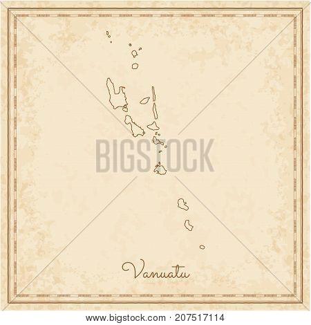 Vanuatu Region Map: Stilyzed Old Pirate Parchment Imitation. Detailed Map Of Vanuatu Regions. Vector