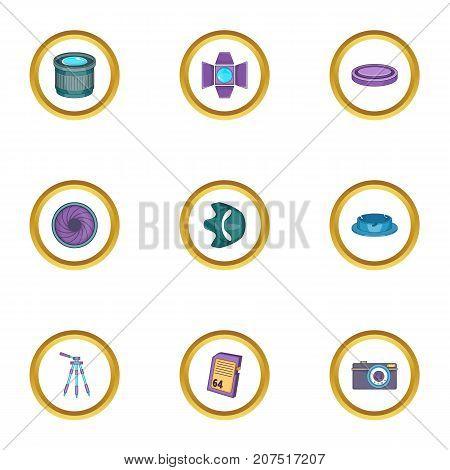 Camera accessories icons set. Cartoon style set of 9 camera accessories vector icons for web design