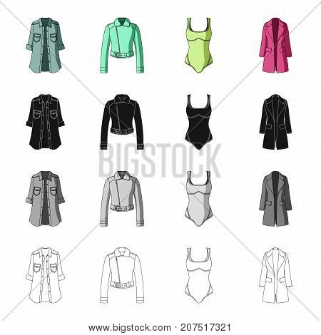 Women's coat, short jacket, swimsuit, classic coat clothes. Women's clothing set collection icons in cartoon black monochrome outline style vector symbol stock illustration .