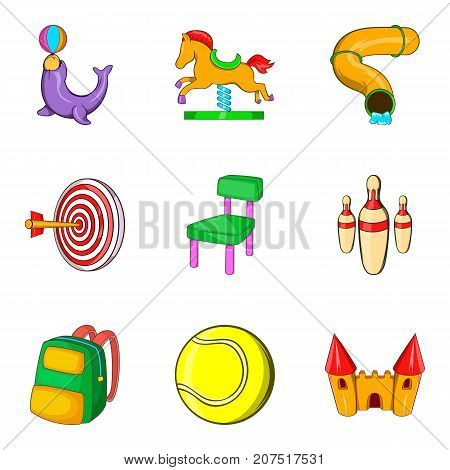 Amusement park for teenager icons set. Cartoon set of 9 amusement park for teenager vector icons for web isolated on white background