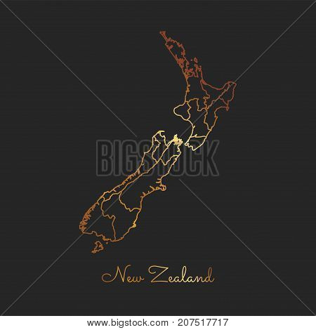 New Zealand Region Map: Golden Gradient Outline On Dark Background. Detailed Map Of New Zealand Regi