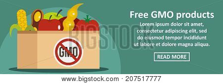 Free GMO products banner horizontal concept. Flat illustration of free GMO products banner horizontal vector concept for web design