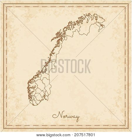 Norway Region Map: Stilyzed Old Pirate Parchment Imitation. Detailed Map Of Norway Regions. Vector I