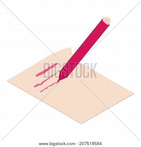 Write felt-tip pen icon. Isometric illustration of write felt-tip pen icon for web