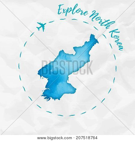 North Korea Watercolor Map In Turquoise Colors. Explore North Korea Poster With Airplane Trace And H
