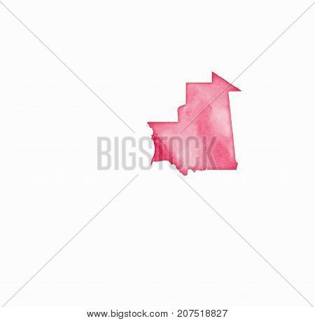Mauritania Watercolor Map In Red Colors. Visit Mauritania Poster With Airplane Trace And Handpainted