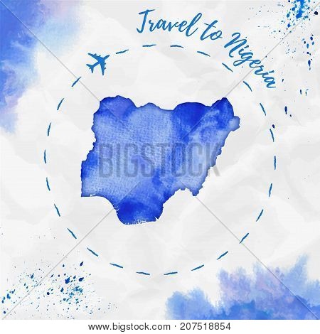Nigeria Watercolor Map In Blue Colors. Travel To Nigeria Poster With Airplane Trace And Handpainted
