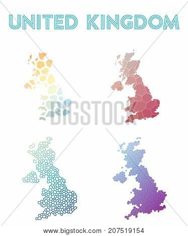 United Kingdom Polygonal Map. Mosaic Style Maps Collection. Bright Abstract Tessellation, Geometric,