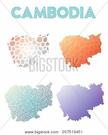 Cambodia Polygonal Map. Mosaic Style Maps Collection. Bright Abstract Tessellation, Geometric, Low P