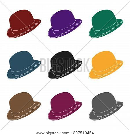 Bowler hat icon in black design isolated on white background. Hipster style symbol stock vector illustration.