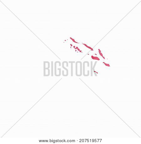 Solomon Islands Watercolor Map In Red Colors. Visit Solomon Islands Poster With Airplane Trace And H