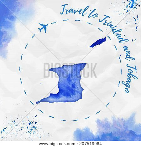 Trinidad And Tobago Watercolor Map In Blue Colors. Travel To Trinidad And Tobago Poster With Airplan