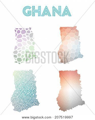 Ghana Polygonal Map. Mosaic Style Maps Collection. Bright Abstract Tessellation, Geometric, Low Poly