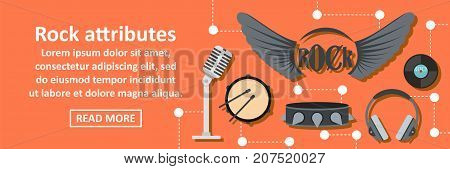 Rock attributes banner horizontal concept. Flat illustration of rock attributes banner horizontal vector concept for web design
