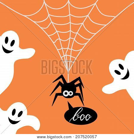 Cute Spider on web and ghost orange background. Background of spider on web for the Halloween party. Spider say boo
