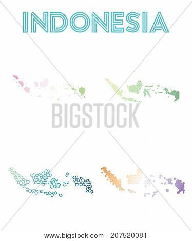 Indonesia Polygonal Map. Mosaic Style Maps Collection. Bright Abstract Tessellation, Geometric, Low