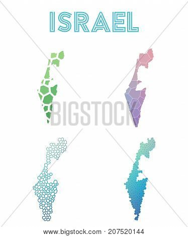 Israel Polygonal Map. Mosaic Style Maps Collection. Bright Abstract Tessellation, Geometric, Low Pol