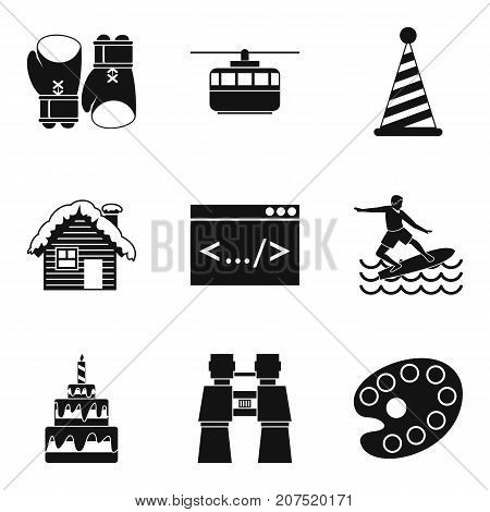 Modern entertainment icons set. Simple set of 9 modern entertainment vector icons for web isolated on white background