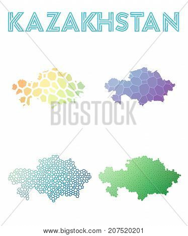 Kazakhstan Polygonal Map. Mosaic Style Maps Collection. Bright Abstract Tessellation, Geometric, Low