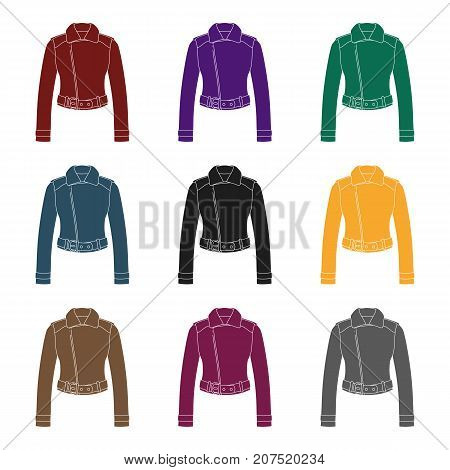 Green youth short leather jackets for confident women.Women clothing single icon in black style vector symbol stock web illustration.