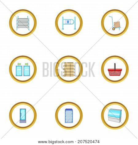 Supermarket icons set. cartoon style set of 9 supermarket vector icons for web design